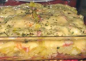 Картфельный пирог с креветками