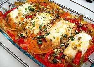 Рыба запечённая с томатами